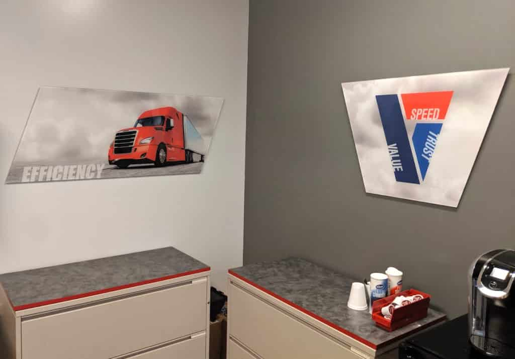 Freight Liner corporate decor graphics